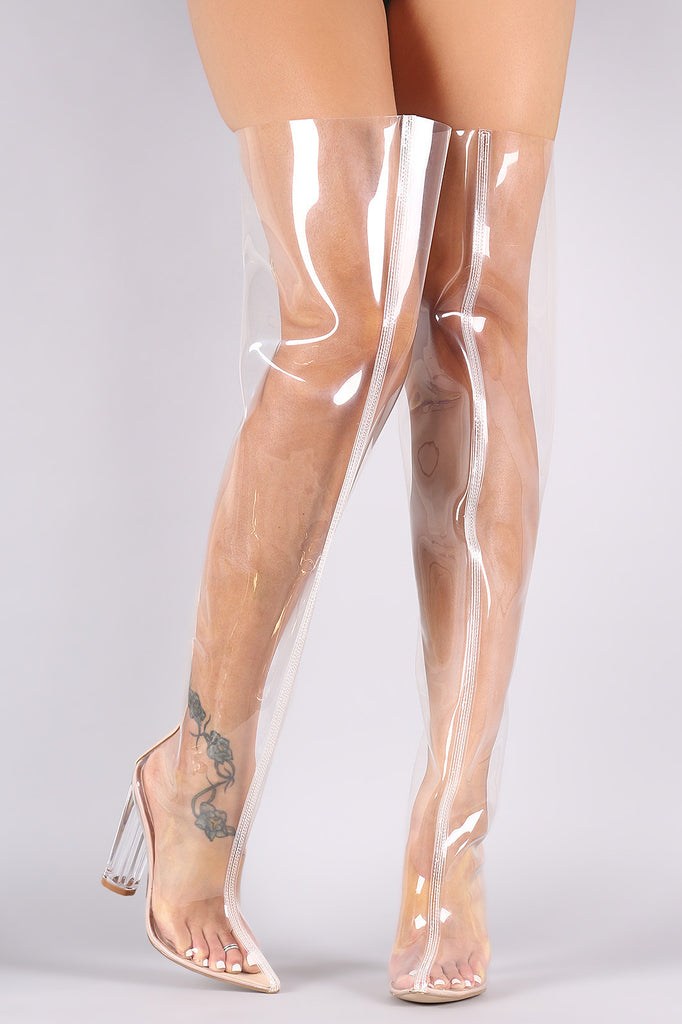 Pointy Toe Transparent Lucite Heeled Over-The-Knee Boots
