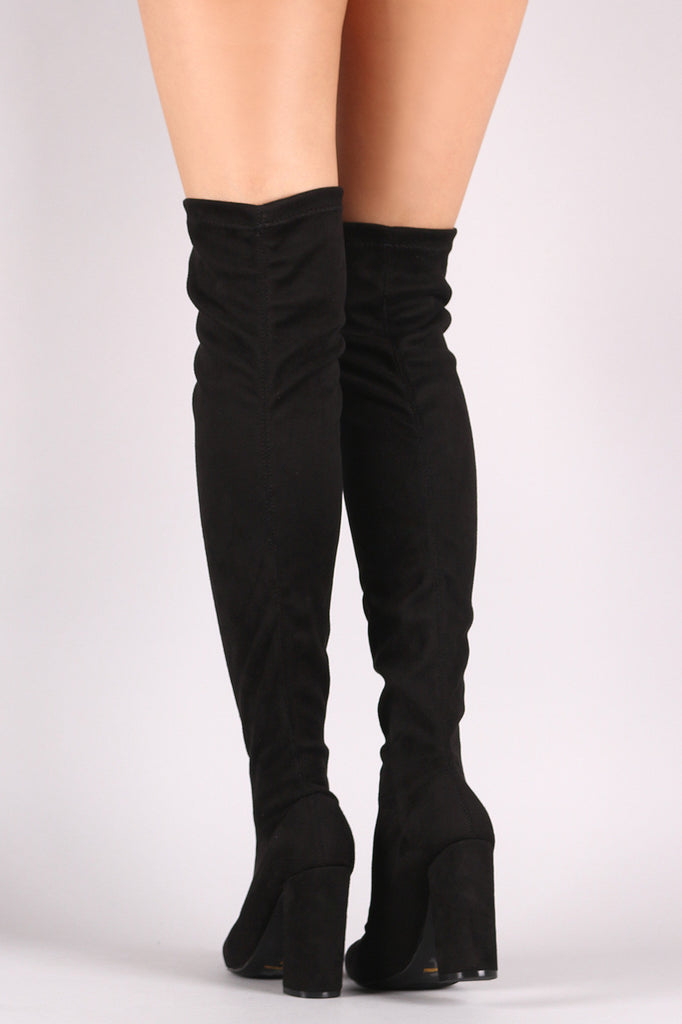 Qupid Fitted Suede Pointy Toe Chunky Heeled Over-The-Knee Boots
