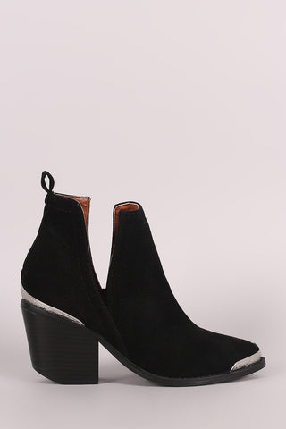 Suede Cutout Chunky Heeled Western Booties