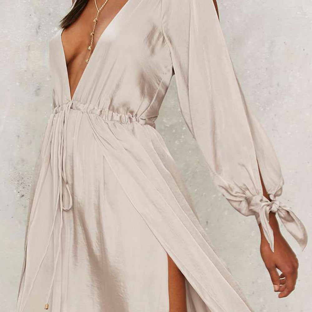 Elegant Cold Shoulder Party Plunge Long Sleeve Maxi Dress