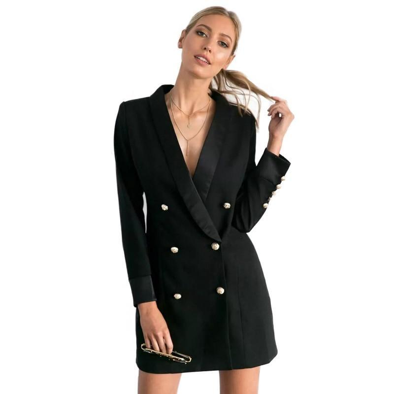 Trendy European Style Blazer Dress