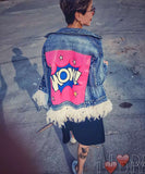 Fashionable Marilyn Monroe style ripped jean jacket