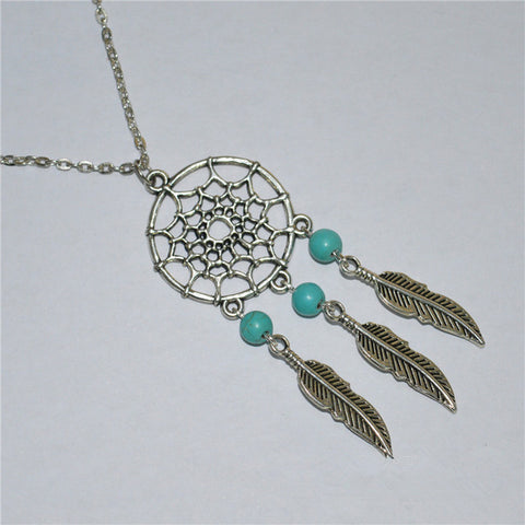 women's retro Bohemia dreamcatcher pendant chain necklace