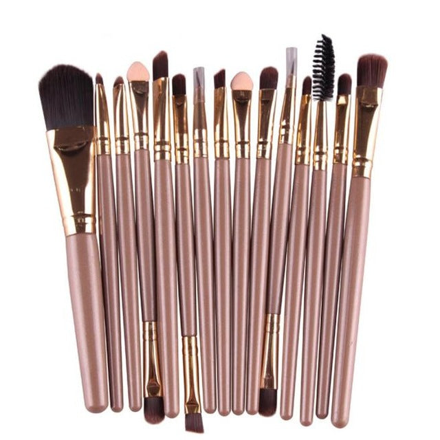 Great Quality Cosmetic Professional 15 pcs/Sets Eye Shadow Brush Foundation Eyebrow Lip Brush Makeup Brushes