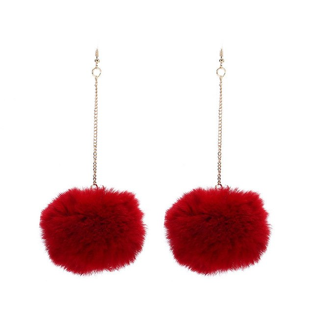 Trendy Long Large Fur Pom Pom Ball Earrings