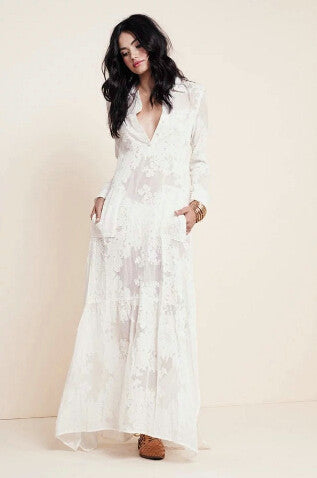 BOHO Chic Side Slit Lace White Chiffon Maxi Dress