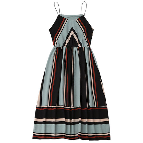 Midi Aline Spaghetti strap Casual Striped Beach Dress