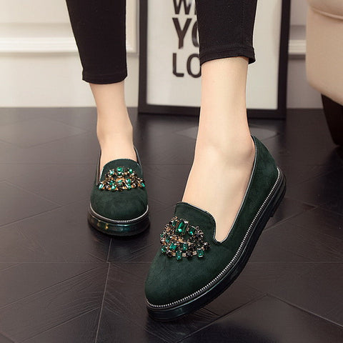 Fashionable Rhinestone Luxury Leather Nubuck Platform shoes