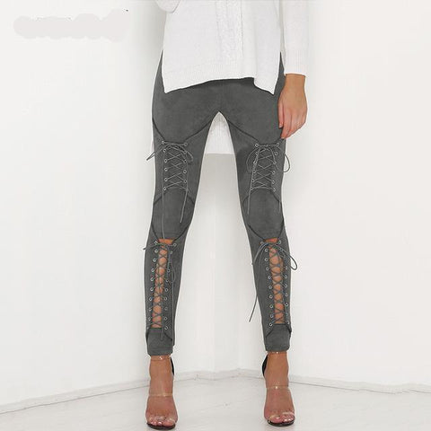 Suede Lace Up Pants Bandage Leggings