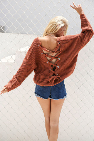 Sexy backless knitted lace up back sweater