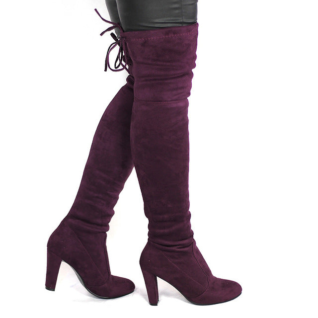 Women Faux Suede Over The Knee Thigh High Boots