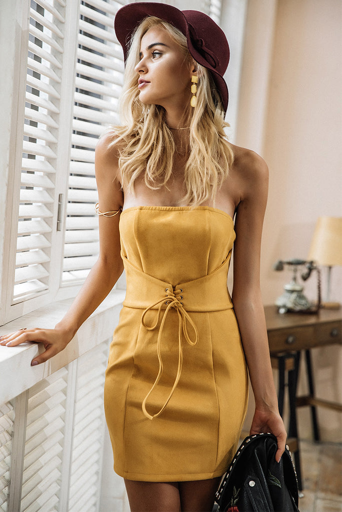 Elegant Stepping Out Suede Party Dress With tie up waist belt