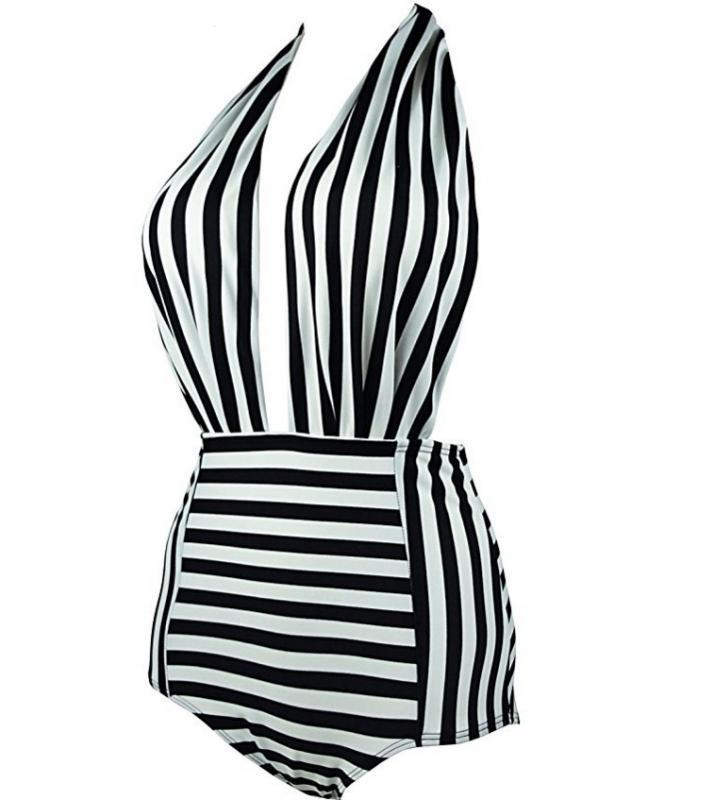 Sexy Halter Striped One Piece Swimsuit