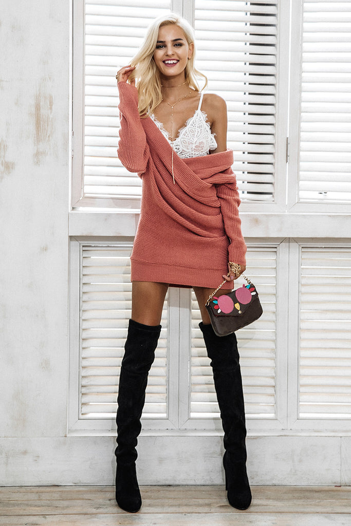Sexy V neck pullover cross knitting sweater dress