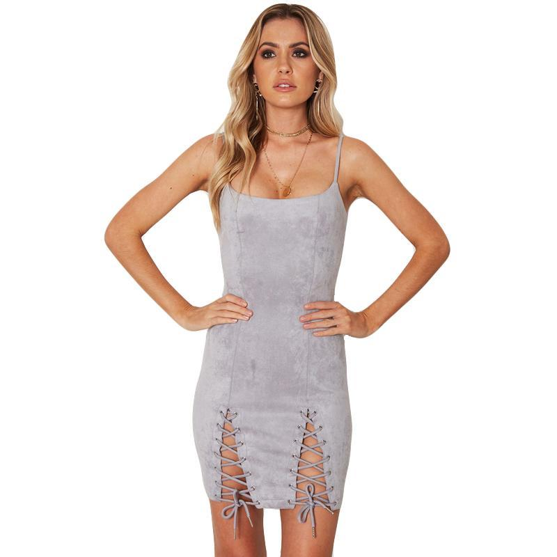 Spaghetti Strap Backless Lace-up Party Suede Bodycon Dress