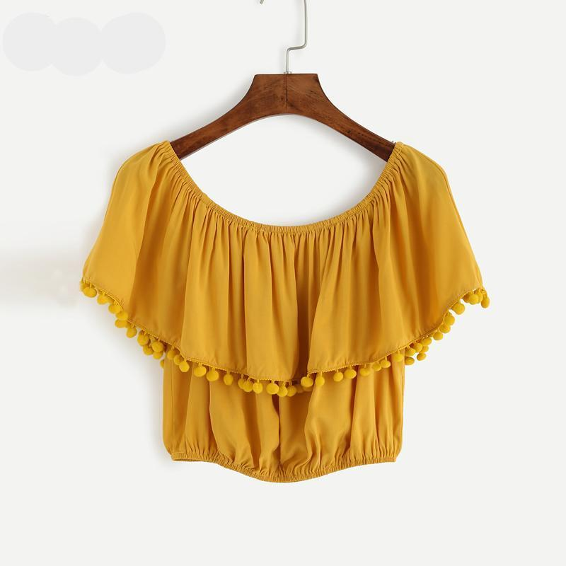 flirty off the shoulder yellow Beach Cover Up top