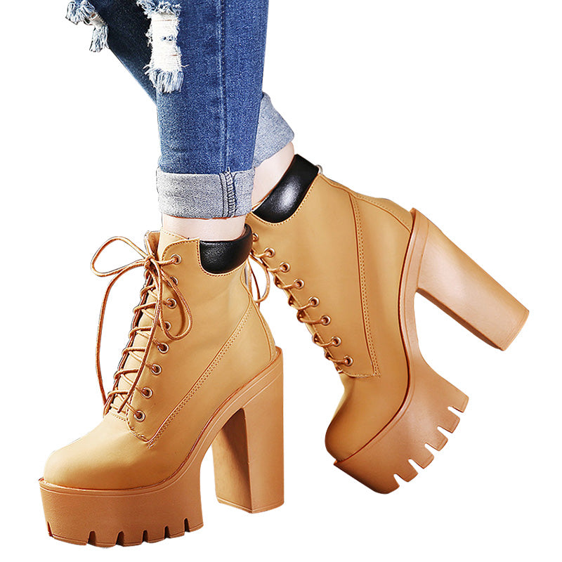 Spring Fashionable Platform Womens lace up Ankle Boots