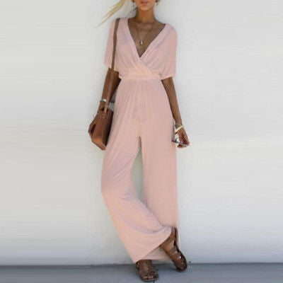 Women's  V Neck Loose Party Casual Jumpsuit