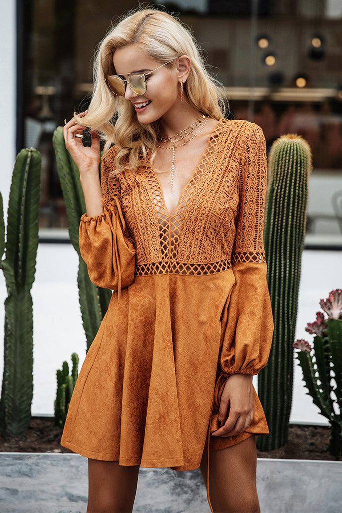 Sexy lace up v neck suede lace dress with Flared Sleeves