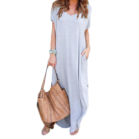 Autumn Round Neck Loose Fitting Maxi Dress