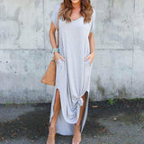 Long Sexy side split Maxi Casual  Dress with pockets