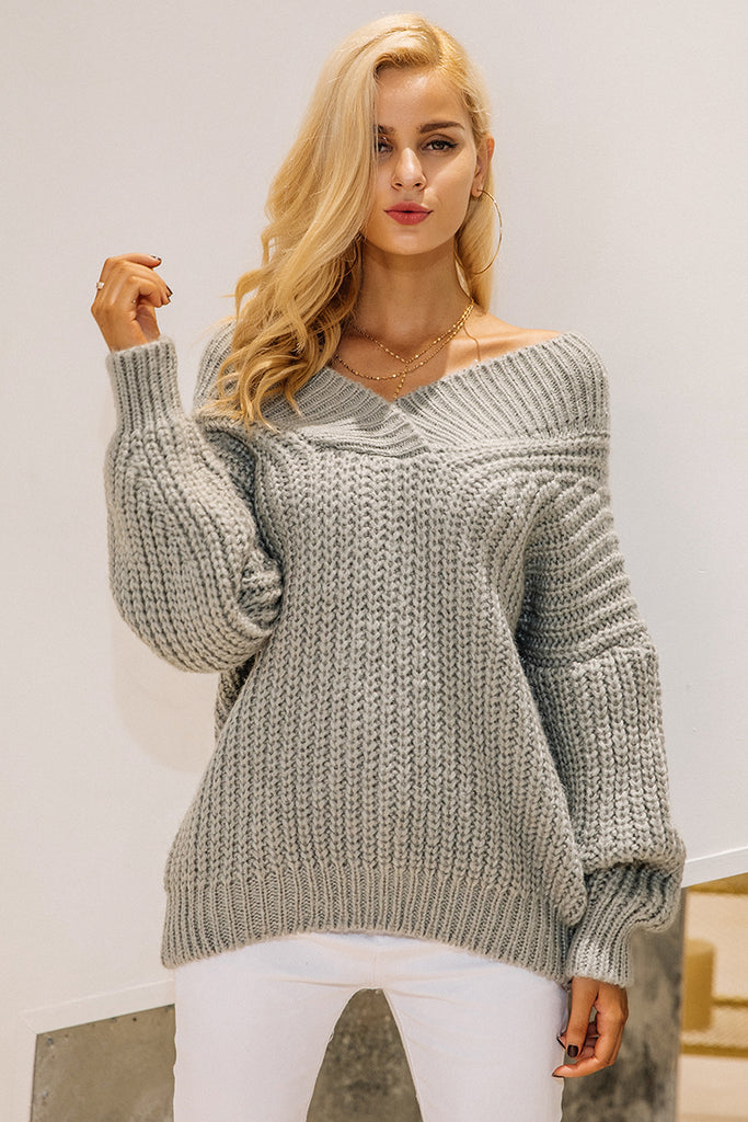 Thick Long Sleeve Off the Shoulder Winter warm v neck knitted sweater