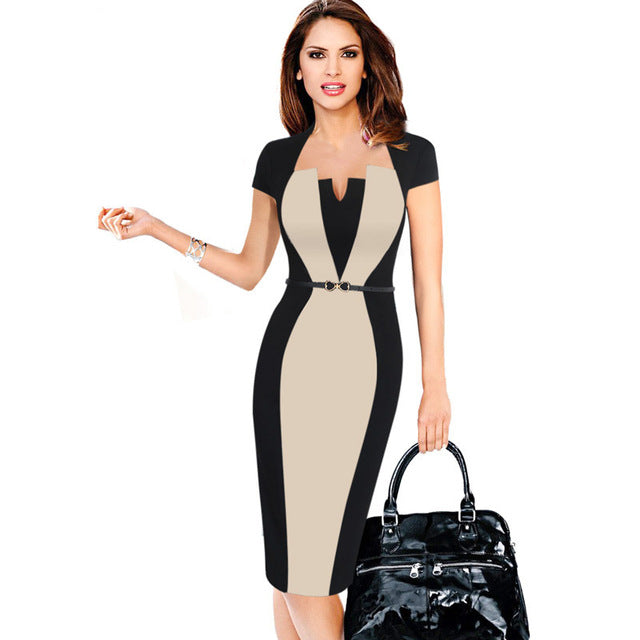 Elegant Square neck Office / Party  Lady Belted Dress