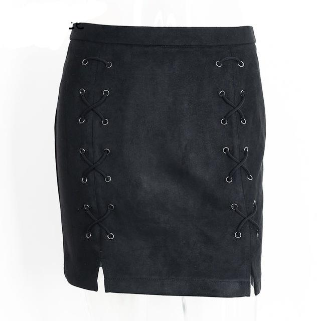 High Waist Autumn lace up leather suede pencil skirt