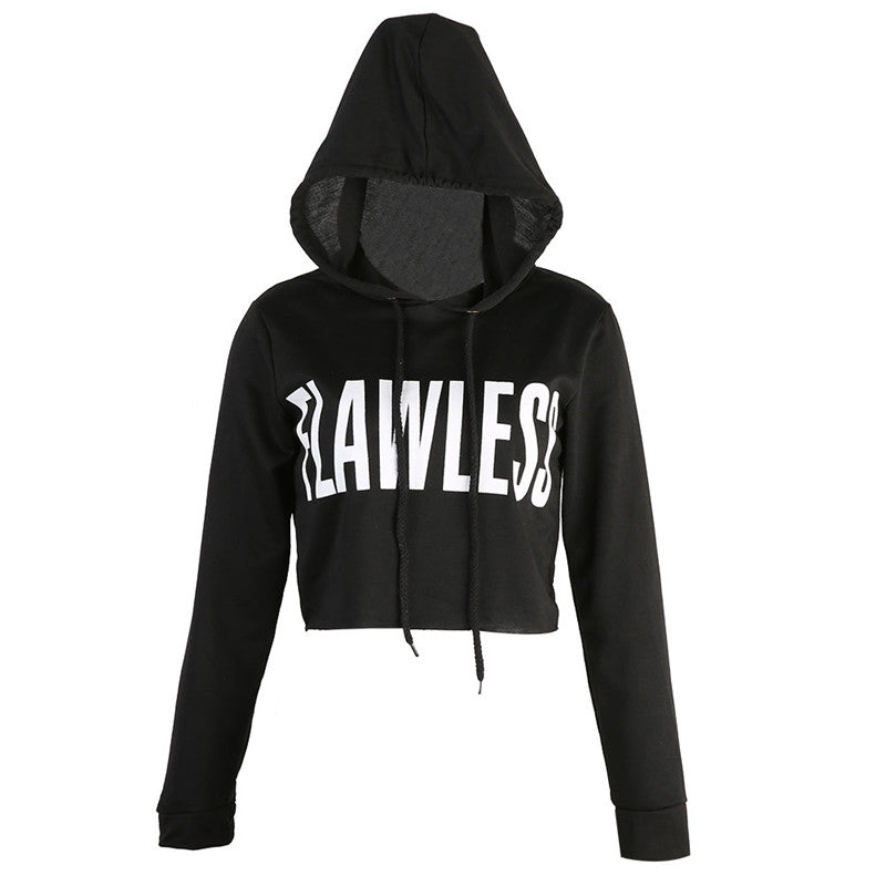 Stylish FLAWLESS Letter Hoody Crop Top Sweatshirt