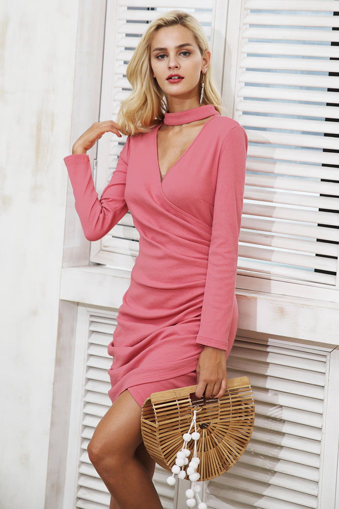 Sexy halter v neck winter sweater dress with Ruched long sleeve