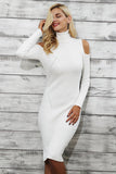 Turtleneck Cold shoulder knitting winter dress