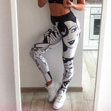 Printed Women 3d Stereo Letters Printed Black &  White Fitness Leggings