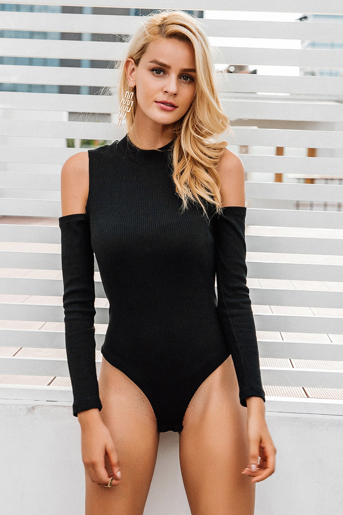 Sexy cold shoulder knitting bodysuit