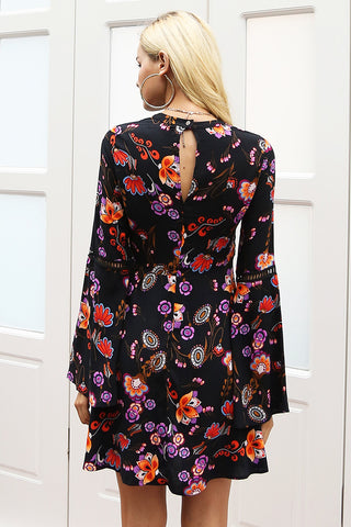 Floral dress with Flare sleeve and open neck