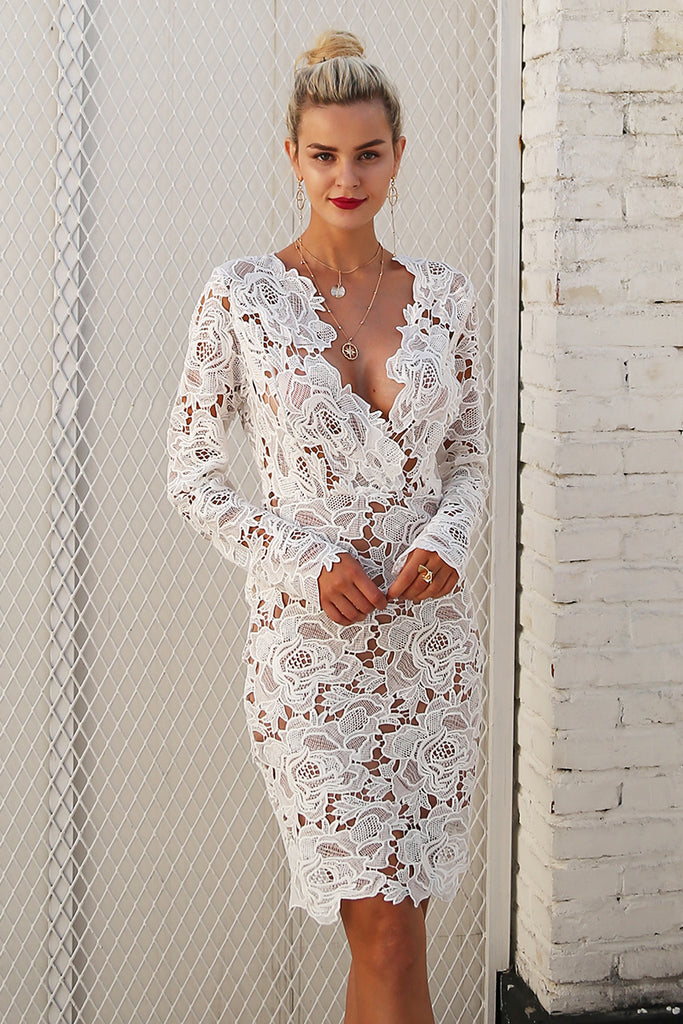 Sexy Vintage Style Floral v neck lace dress