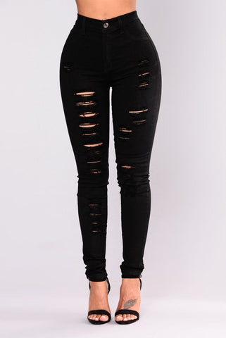 Womens Skinny High Waist Black Ripped  Stretchy Jeans