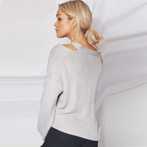 Womens Cold Shoulder knitted Sweater Gray Long Sleeve