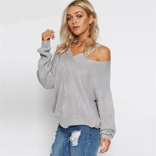 6a08629f8f Womens Cold Shoulder knitted Sweater Gray Long Sleeve – Lailah s Loft