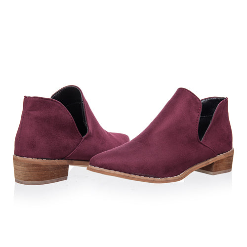 Flock V Shape Pointed Toe Ankle Boots