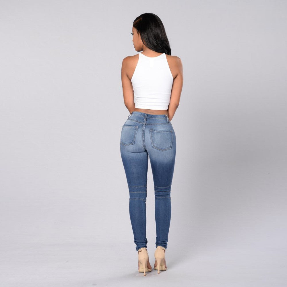 Women Skinny biker Casual Slim Pencil Jeans