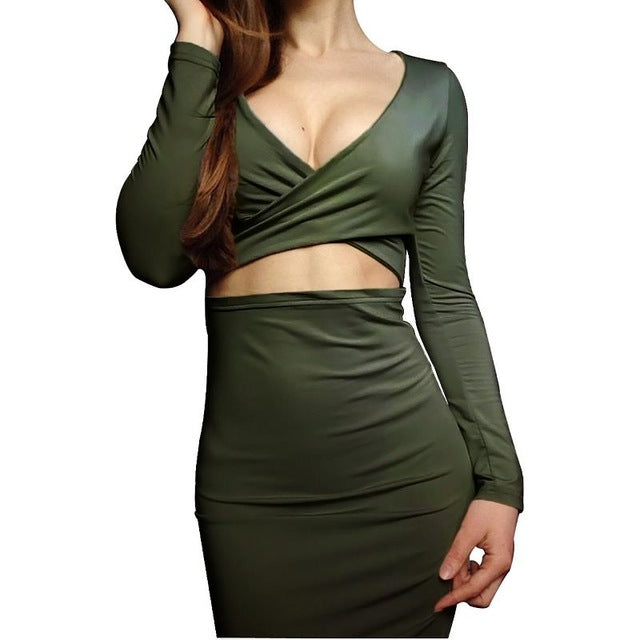 Long Sleeve Hollow Out Sexy Club Bandage Bodycon Dress