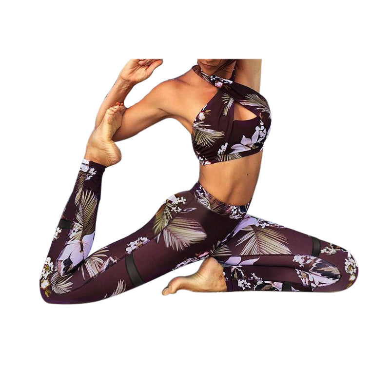 Retro Floral Print High Waist Legging & Bra Athleisure Women Suit / Sportswear / Yoga 2pcs set
