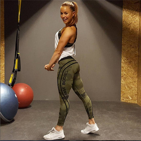 Camouflage Quick Dry Letter Printed Yoga / Fitness Pants