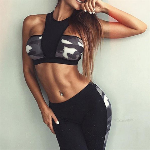 Lace-up and Grid Style Women Running Fitness yoga / sports bra