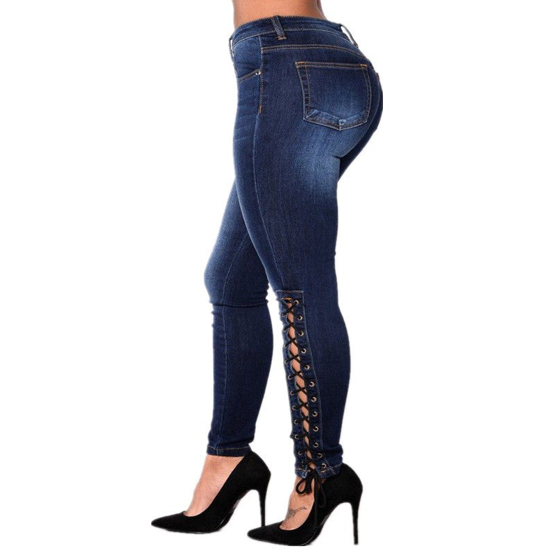Pencil Side Lace Up Sexy Jeans