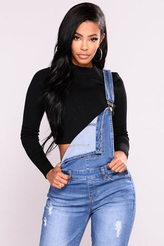 Ripped Denim Overalls with stretch