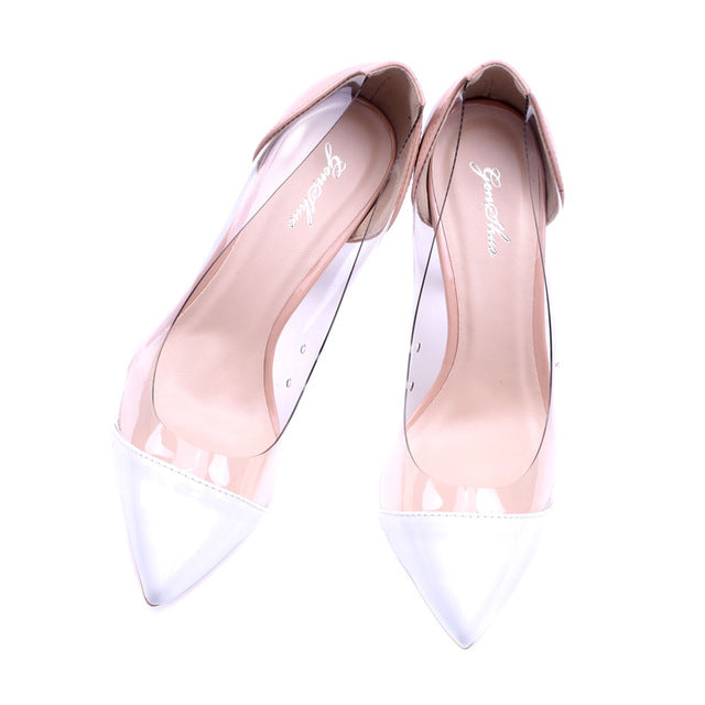 Sexy Pointed Transparent Slip-on Heels
