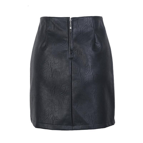 High waisted Lace up pu leather short skirt