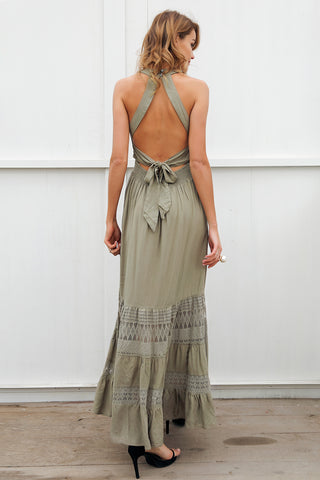 Halter hollow out long Spring /  Summer dress