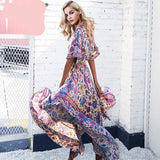Boho chic summer long dress women Backless lace up elastic high waist dress Elegant streetwear maxi dress